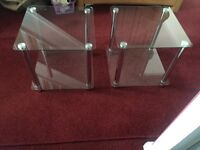 Two glass lamp tables