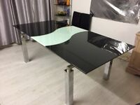 Stunning Black Glass Extending Dining Table, Marble Affect, 6-8 Seater, With Chairs