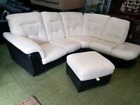 Stunning cream and black corner sofa with storage pouffe (quality suites and sofas)