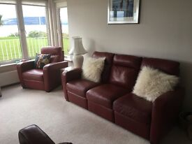 3 Seater Leather Sofa and single recliner - Autumn Red