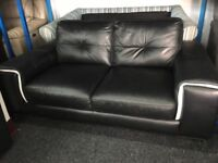 New/Ex Display ScS Black High Grade Leather 2 Seater Sofa