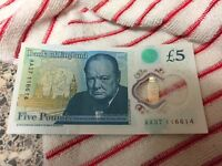New 5 pound notes AK37 and AA28