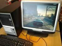 "PC quad core, 500gb hd, 3gb ram, 1gb graphics, 19"" monitor"