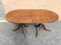 URGENT Antique Vintage Regency Style Oval Twin Pedestal Dining Table with Six Chairs