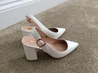 Ladies white chunky heels size 4