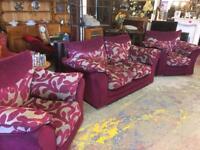 Plum and grey sofa set