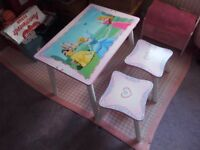 Lovely condition Pretty Wooden Disney Princess Childrens table and 2 stools bargain at £20