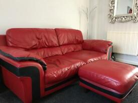 REAL RED LEATHER SOFA