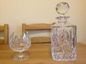 Cut Glass Brandy Glass and Decanter