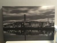 Amazing Large Canvas Of The Albert Dock, Liverpool In Black & White, As New Condition