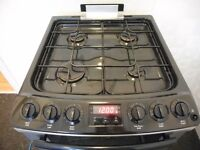 ZANUSSI DOUBLE OVEN ALL GAS COOKER **BLACK/STEEL**