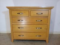 Solid Oak 2 Over 3 Chest of Drawers / Modern Oak Bedroom Furniture