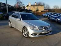 2010 MERCEDES-BENZ C220 CDI AMG SPORT AUTO 4 DOOR SILVER LEATHERS LONG MOT