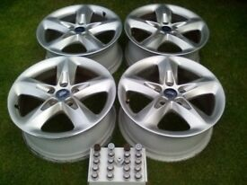 "Ford Focus 16"" alloy wheels X 4 with nuts & security bolt."