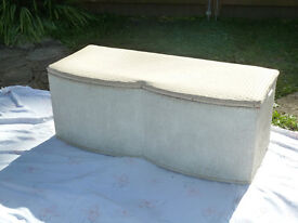 Pretty storage box for blankets, cushions, Toys.Useful seat. Lloyd loom basket weave effect.cream