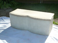 Pretty storage box for blankets, cushions, Toys.Useful seat. Lloyd loom basket weave effect.cream