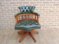 Green Leather Captains Chair (UK Delivery)