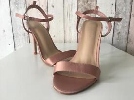 Metallic baby pink heels
