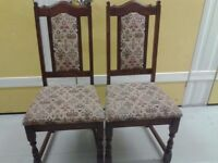 2 dining chairs, solid oak, carved leg, genuine Old Charm, made in England!!! Tudor Brown