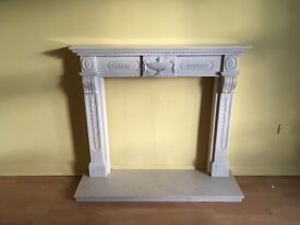 Greek Inspired Resin Fire Surround and Marble Plinth