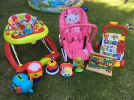 Baby walker, bouncy chair and toys bundle
