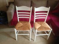 2 X dining kitchen chair white