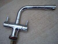 Single pedestal kitchen mixer taps