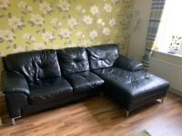 3 seater leather sofa + Single seat and Pouffe