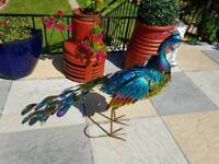 Brand new 2ft free standing solar powered peacock garden ornament