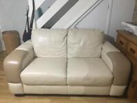 Real leather 2-seater sofa