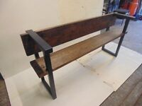 custom made metal and wood garden bench