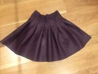 Black faux leather and burgundy faux leather skirt