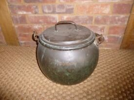 Antique Vintage Patina Copper Cooking Pot Cauldron with Lid