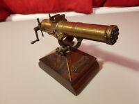 RARE Gatling gun 1883 model vintage brass desk ornament