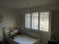 Wooden plantation shutters in white 3 doors with 4 sided frame 1750 x 1220mm inside frame