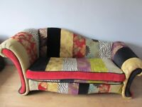 Bespoke Victorian Re Upholstered Patchwork Wooden Chaises Longue.2 Seater.