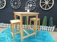SOLID PINE BAR/KITCHEN TABLE WITH 2 HIGH STOOLS VERY SOLID SET AND IT'S IN VERY GOOD CONDITION