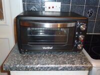 Von Shef Black Mini Oven and Grill 1400W with Baking Tray and Wire Rack.