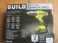 Guild 18V Li ION Hammer drill CD1218G2, 1 xbattery, charger, hard case new saeled box