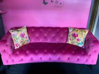 Pink velvet 3 seater sofa and cuddle chair