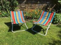 Two small deck chairs