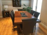 Large Walnut dining table & 6 chairs