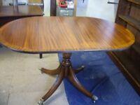 single pedestal drop leaf oval table, solid mahogany, brass castors, brilliant conditions