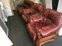 3pc leather suite (FREE DELIVERY)