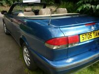 SAAB 9-3 2.0i S 2 DOOR MANUAL PETROL COVERTIBLE 1998 S REG 138000 MILES METALIC BLUE BEIGE LEATHER