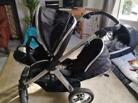 Oyster Max 2 DOUBLE buggy travel system faces both ways black with changeable teal covers & carseat