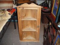 VINTAGE PINE SMALL CORNER CABINET WITH TWO GLASS DOORS