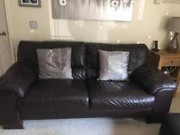 Brown leather 3 & 2 seater sofa with matching storage footstool