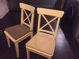 IKEA INGOLF dining chairs in white, set of 4