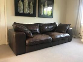 3 Seater DFS Leather Sofa, Armchair and Swivel Chair